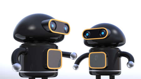 Two black robots have chat on white background. 3D rendering image.