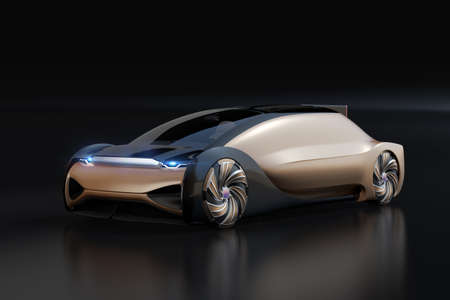 Self driving electric car on black background. Original design. 3D rendering image.