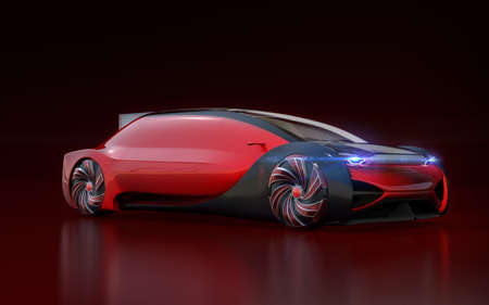 Red self driving electric car on dark red background. 3D rendering image. 写真素材