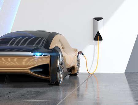 Nahaufnahme des metallischen Goldelektroautos, das in der Ladestation auflädt. 3D-Rendering-Bild. Standard-Bild