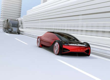 Metallic red autonomous electric car driving on the highway. 3D rendering image.