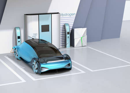 Fuel Cell powered autonomous car filling gas in Fuel Cell Hydrogen Station. 3D rendering image. Foto de archivo
