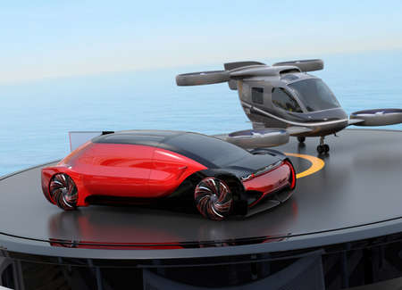 Red autonomous electric car and passenger drone parking on heliport. MaaS concept. 3D rendering image.
