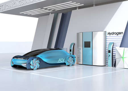 Fuel Cell powered autonomous car filling gas in Fuel Cell Hydrogen Station. 3D rendering image. Stok Fotoğraf