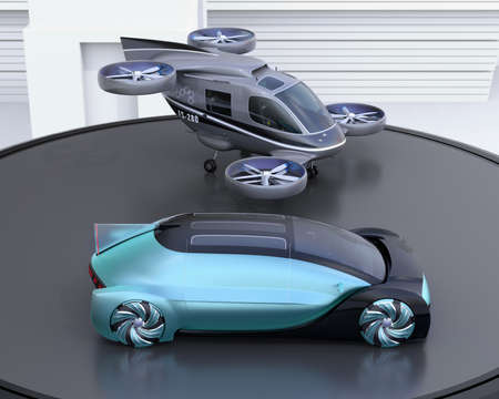 Metallic blue autonomous electric car and passenger drone parking on heliport. MaaS concept. 3D rendering image. Stock Photo