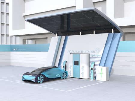 Brennstoffzellen-betriebenes autonomes Auto, das Gas in der mit Sonnenkollektoren ausgestatteten Brennstoffzellen-Wasserstoffstation tankt. 3D-Rendering-Bild. Standard-Bild