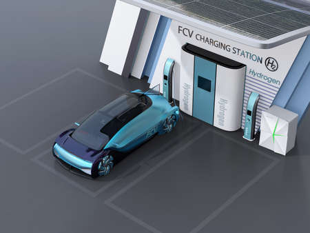 Fuel Cell powered autonomous car filling gas in Fuel Cell Hydrogen Station. 3D rendering image. Stock Photo