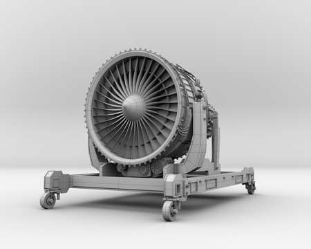 Clay rendering of turbojet engine on gray background. 3D rendering image.