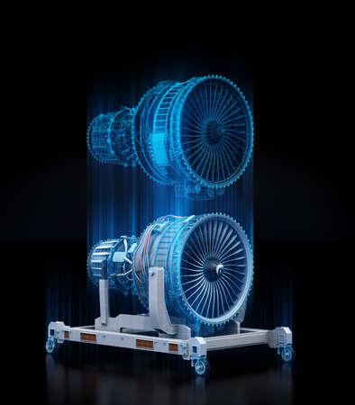 Representación de estructura metálica del motor turborreactor y cuerpo físico reflejado sobre fondo negro. Concepto de gemelo digital. Imagen de renderizado 3D.