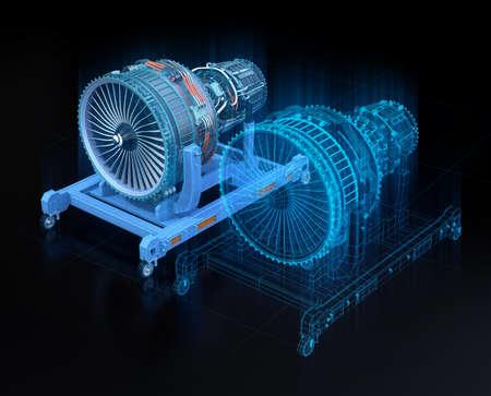 Wireframe-weergave van turbojet-motor en gespiegeld fysiek lichaam op zwarte achtergrond. Digitaal tweelingconcept. 3D-rendering afbeelding.