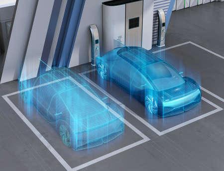 Wireframe-Rendering eines autonomen Autos mit Brennstoffzellenantrieb in der Brennstoffzellen-Wasserstoffstation. Konzept des digitalen Zwillings. 3D-Rendering-Bild.