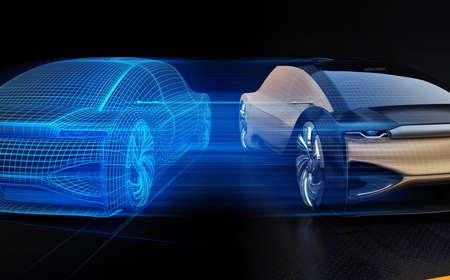 Coche eléctrico autónomo y representación de estructura metálica de la carrocería en el lado derecho. Concepto Digital Twin. Imagen de renderizado 3D. Foto de archivo