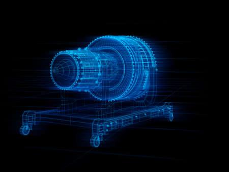 Wireframe rendering of turbojet engine on black background. Digital twin concept. 3D rendering image. Imagens