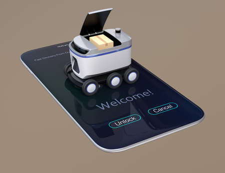 Self-driving delivery robot on smartphone. Cover opened waiting for picking up parcels. 3D rendering image. 写真素材