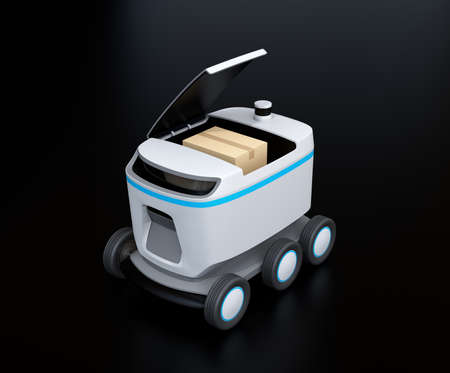 Self-driving delivery robot on black background. Top cover opened waiting for picking up parcels. 3D rendering image.