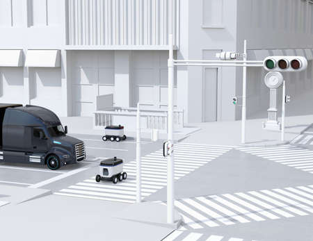 Self-driving delivery robots on the street. One crossing the road with a pedestrian crossing. 3D rendering image.