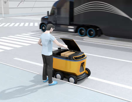 Low polygon style man pick up parcel from self-driving delivery robot. Last one mile concept. 3D rendering image.