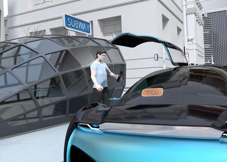 Close-up view of a man use smartphone to request a self driving car for moving. Ride sharing concept. 3D rendering image.