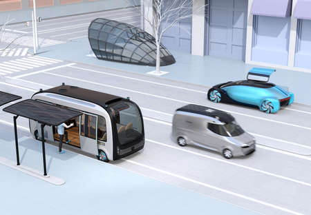Scene of modern urban transportation style. Autonomous bus in bus stop. Electric minivan moving on the road. Subway entry near to the intersection. 3D rendering image.