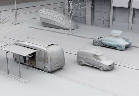 Clay rendering of transportation scene in urban life. Autonomous bus in bus stop. Electric minivan moving on the road. Subway entry near to the intersection. 3D rendering image. 写真素材