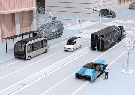 Scene of modern urban transportation style. People using smartphone to request a ride sharing, autonomous bus in bus stop. Electric truck and minivan moving on the road. Subway entry near to the inter 写真素材