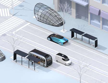 Isometrische Ansicht der modernen Stadtkreuzung. Autonomer Bus in Bushaltestelle. Selbstfahrende Limousine und Minivan auf der Straße. 3D-Rendering-Bild. Standard-Bild