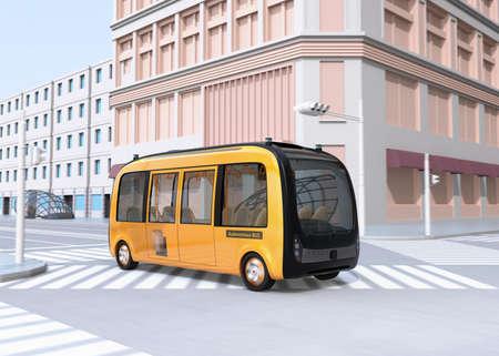 Autobús lanzadera autónomo eléctrico amarillo conduciendo a través de una intersección. Imagen de renderizado 3D.
