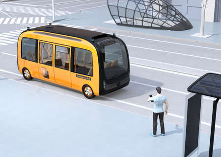 Low polygon style man using smartphone to request a ride sharing self-driving shuttle bus. The bus closing the bus stop. 3D rendering image.