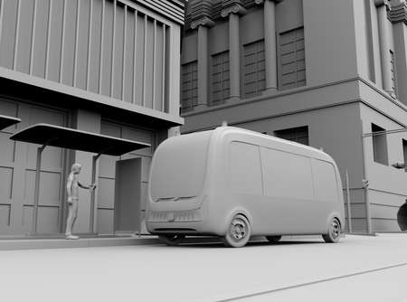 Clay rendering of a man using smartphone to request a ride sharing self-driving shuttle bus. 3D rendering image.