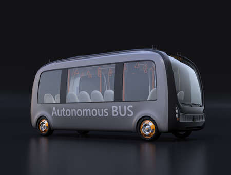 Electric powered self-driving shuttle bus on black background. 3D rendering image.