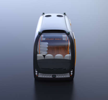 Front view of self-driving shuttle bus on black background. 3D rendering image. 写真素材