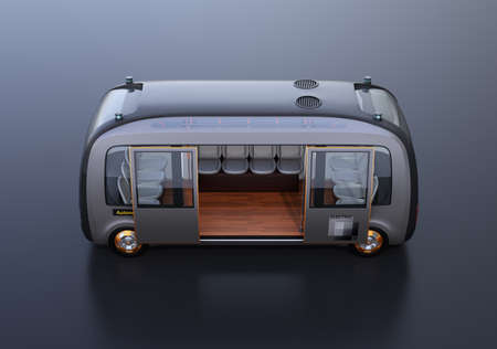 Side view of self-driving shuttle bus on black background. 3D rendering image. 写真素材