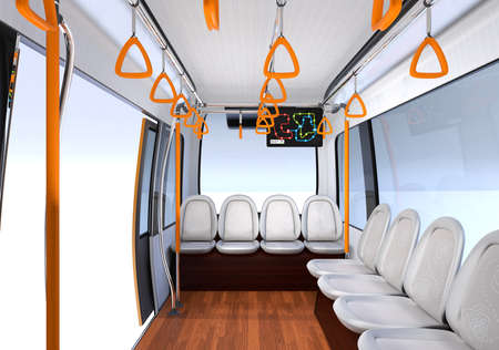 Interior view of self-driving shuttle bus. 3D rendering image. 写真素材