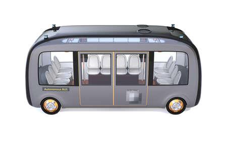 Seitenansicht des selbstfahrenden Shuttlebusses isoliert auf weißem Hintergrund. 3D-Rendering-Bild.