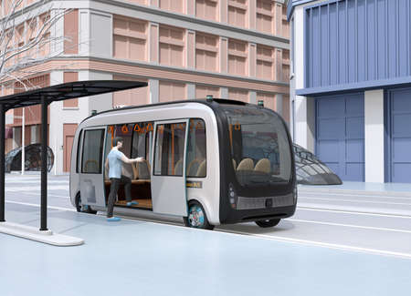 In a bus stop a man get on a autonomous bus. The bus stop equipped with solar panels. 3D rendering image. 写真素材