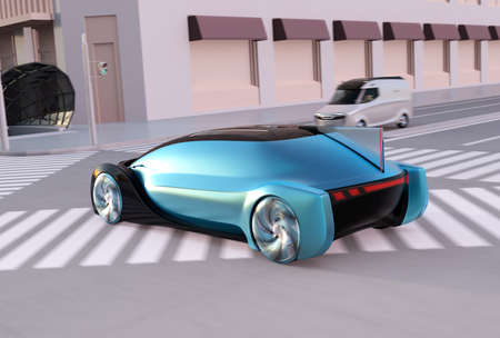 Rear view of self driving sedan driving fast on the road at sunset. Minivan stop at the red traffic signal. Ride sharing concept. 3D rendering image.
