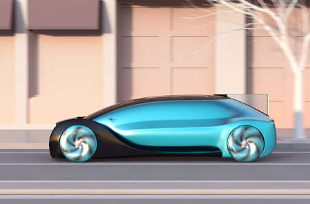 Side view of metallic blue autonomous sedan moving fast on the road at sunset. 3D rendering image. 写真素材