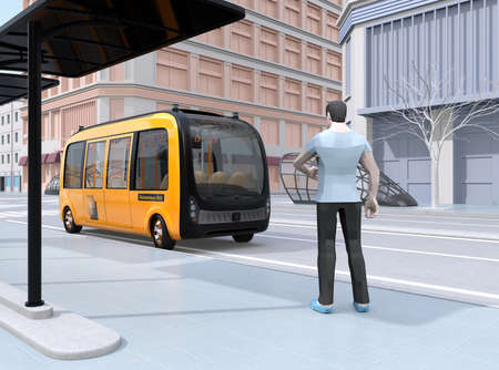 Low polygon style man waiting self-driving shuttle bus at bus stop. The bus closing to the bus stop. 3D rendering image.