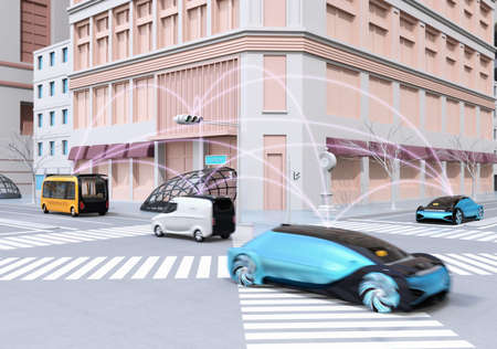 Traffic in modern city intersection. Self driving sedan, delivery van and bus connected each other with pink curve. Connected cars concept. 3D rendering image. 写真素材