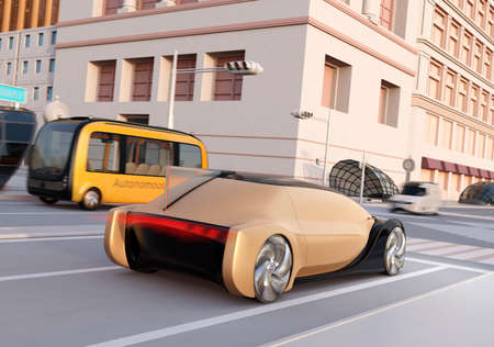 Rear view of autonomous sedan and bus driving through an intersection at sunset.  3D rendering image.