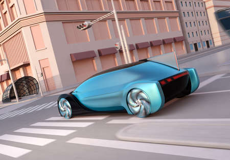 Rear view of metallic blue self driving sedan driving on the road. Ride sharing concept. Sunset tone. 3D rendering image.