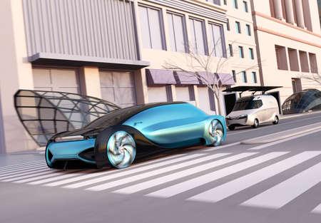 Metallic blue self driving sedan driving on the street. Ride sharing concept. Sunset tone. 3D rendering image. 写真素材