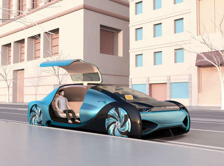 Low polygon style people sitting in an autonomous sedan waiting for moving. Ride sharing concept. 3D rendering image.