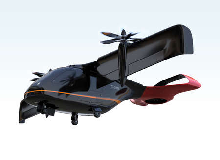 E-VTOL passenger aircraft takeoff from airport.  Urban Passenger Mobility concept. 3D rendering image. 写真素材