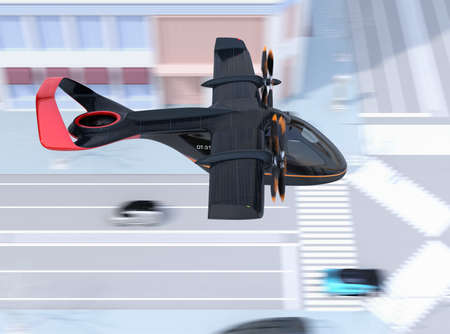 Side view of E-VTOL passenger aircraft flying over the street. Solar panel mounted on the wings. Urban Passenger Mobility concept. 3D rendering image. 写真素材