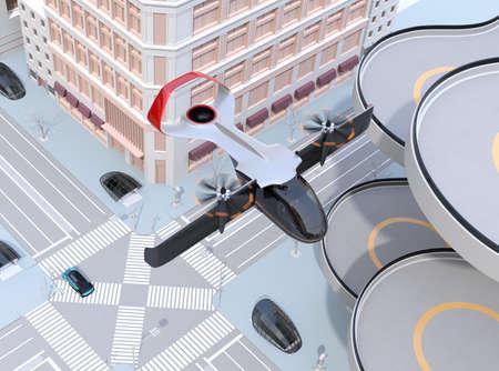 E-VTOL passenger aircraft flying over urban street. Urban Passenger Mobility concept. 3D rendering image.