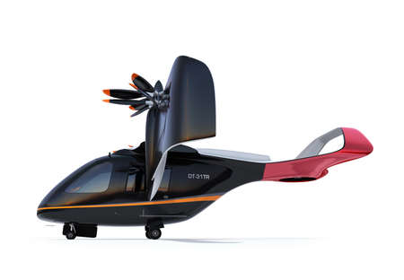 Side view of E-VTOL passenger aircraft isolated on white background. Urban Passenger Mobility concept. 3D rendering image. 写真素材