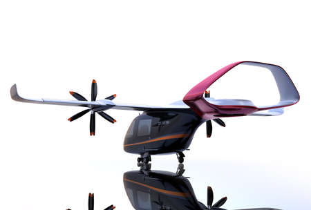 Rear view of E-VTOL passenger aircraft with mirror reflection on the ground. Urban Passenger Mobility concept. 3D rendering image. 写真素材
