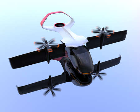 E-VTOL passenger aircraft  preparing to takeoff. Mirror reflection on the ground.. Urban Passenger Mobility concept. 3D rendering image.