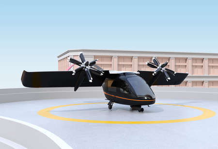 E-VTOL passenger aircraft waiting for takeoff from airport. Urban Passenger Mobility concept. 3D rendering image.